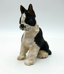 Vintage Hand Carved Boston Terrier Ornament Pottery Barn