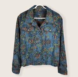 Vintage Floral Jacquard Knit Trucker Jacket Fits Womens Xl Boxy/cropped