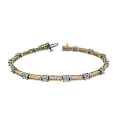 3.12ct Round Cut Channel Set Diamond Ladies Bracelet In 14k Two-toned Gold