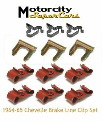1964-1965 Chevy Chevrolet Chevelle Ss Brake Lines Line Clip Clamps Complete Set
