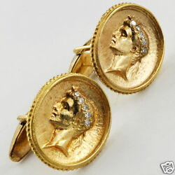 Vintage 14k Gold And Diamond Solid Gold Cameos Porfile Of Greek God Cufflinks