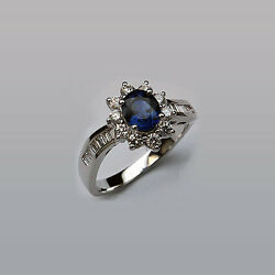 Diamond Baguette Ring With Blue Sapphire Center