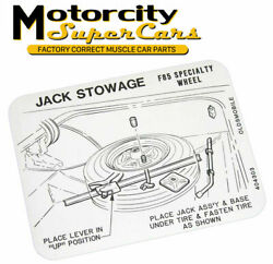 68-69-70-71-72 442 Cutlass Spare Tire Jack Truck Stowage Decal Specialty Wheel