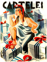 429.decoration Design Posterlady Liberty Sitting On Gifts To Cuba Retro