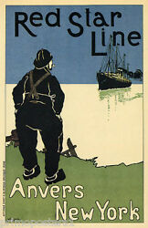 Belgium Red Star Line Boat Anvers New York Ship Travel Vintage Poster Repro
