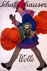 Girl Lady Sew Sewing Needlework Tricot Wolle Germany German Vintage Poster Repro