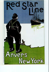 3716.red Star Line Anvers New York Poster.decorating Home Interior Design Wall