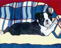 BOSTON TERRIER Puppy Couch 8X10 Signed Dog Art PRINT of Original Painting VERN