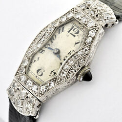 Art Deco Plat And Diamond Ladies Antique Watch By Benrus Watch Co. Swiss Movement