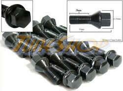 16 Vw 28mm Tuner Wheels Rims Lug Bolts Nuts 12x1.5 Cone Taper Conical Black