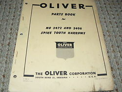 Oliver White Tractor 3472 And 3496 Spike Tooth Harrow Dealer's Parts Book