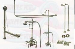 Brushed Satin Nickel Clawfoot Tub Faucet With Drain Water Supply Lines And Stops