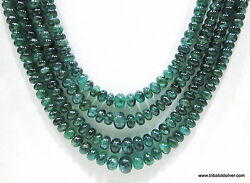 Four Strand 484 Carats Natural Emerald Gemstone Beads Necklace Strands