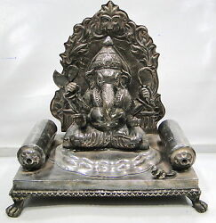 Vintage Antique Sterling Silver Lord Ganesh Statue Figure Rajasthan India