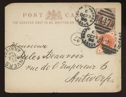 GB QV STATIONERY 1896 LOUIS LEATHER UPRATED to ANTWERP...CHAPELTOWN LEEDS DPX GBP 19.00