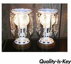 Antique Pair Of Bohemian Cased Blue Glass And Crystal Lustre Table Lamps Mantel