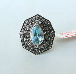 14 K Gold Sterling Silver Blue Topaz And Diamond Gemstone Ring India