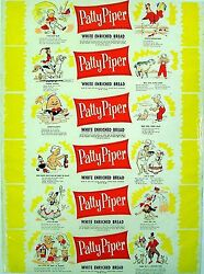 Vintage Bread Wrapper Patty Piper 1 Dated 1958 Humpty Dumpty New Old Stock Nrmt