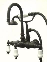 Kingston Brass Wall Mount Clawfoot Tub Faucet And Hand Shower - Oil Rubbed Bronze