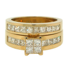2ct Princess Cut Invisible Channel Set Wedding Engagement Ring Set In 14k Gold