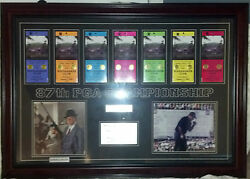 Phil Mickelson Framed 2005 Pga Championship Unused Ticket Set And Auto Photo