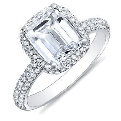 2.04 Ct Emerald Cut Micro Pave Halo Round Diamond Engagement Ring 14K FVVS2 GIA