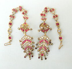 Rare Vintage Antique Solid 20 Carat Gold Earring And Hair Chain Rajasthan India