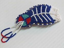 Native American Beaded Hair Barrette Leather Backmetal Clasp.feather Style