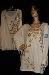 Nwt Liz And Me Ivory Cream And Gold Sparkle Holly And Berries Or Stars And Snowflakes 3x