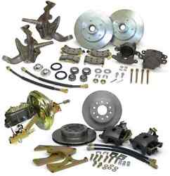 1967-69 Chevy Camaro Power 2 Drop Spindle Front And Rear Disc Brakes Kit