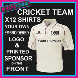 Surridge Premier Cricket Shirt X12 With Own Club Logo Embroidered No Set Up Fee