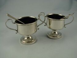 Beautiful Pair Of Solid Silver Trophy Style Salts And Spoons - Blue Glass Liners