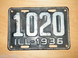 Antique And Vintage Very Rare 1936 Illinois License Plate - 1020