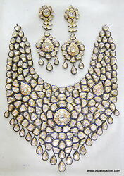 VINTAGE ANTIQUE 20K GOLD DIAMOND POLKI KUNDAN ENAMEL NECKLACE EARRING PAIR INDIA