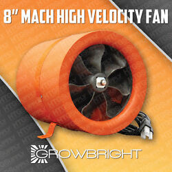 MACH 8 Inch 705 MAX CFM HYDROPONIC FAN Mixed Flow can Inline Duct Blower Eight