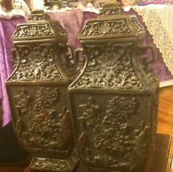 Fabulous Pair Of Antique Asian Bronze Urns/vases With High Relief