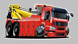Childrens Wall decal wall sticker Red Tow truck incredible detail removable