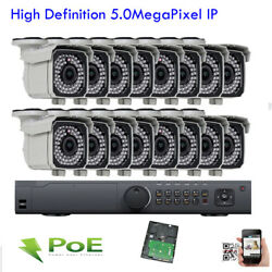 16ch Network H.265 5mp Nvr Sony Cmos 2592p Ip Poe Onvif Camera Security Outdoor