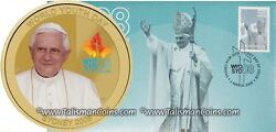 Australia Perth 2008 Pope Benedict Xvi 1 Coin + Stamp First Day Cover Pnc Fdc