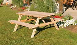 Cedar 8 Foot Picnic Table W Attached Bench 8 Stain Colors Amish Made Usa