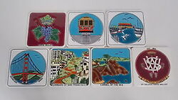 Set Of 7 Souvenir Porcelain Coasters W/ Calif Scenery Designs Made In Greece