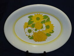 13 Yellow And Green Sunflowers Serving Platter Plate By Arklow Enniskerry Ireland