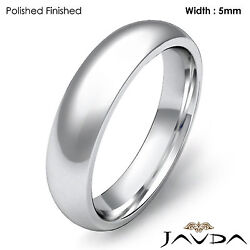 Women Wedding Band Platinum 950 Classic Dome Comfort Ring 5mm 11.1g Size 7-7.75