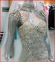 Yz Luxury Crystals Sheath Beads Gown