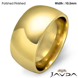 10.5mm Men Wedding Band Solid Dome Comfort Fit Ring 18k Gold Yellow 16.6g 8-8.75