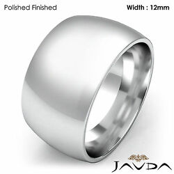 Heavy Men's 12mm Solid 18k Gold White Plain Dome Wedding Band Ring 20.2gm 9-9.75