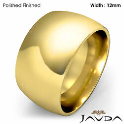 Huge Men's 12mm Solid 18k Gold Yellow Plain Dome Wedding Band Ring 20.4gm 9-9.75
