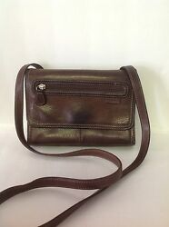 Fossil Genuine Leather Organizer Shoulder Bag Brown Designer  Fashion  Hip $36.00