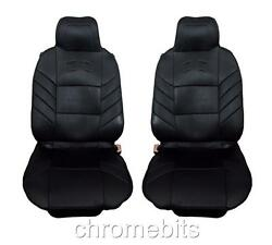 Universal Front Black Cushion Padded Seat Covers 1+1 Car Van Bus Taxi Motorhome