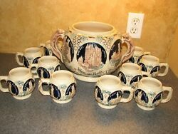 German Stoneware Ceramic 1950's Punch Bowl And Cups, Foxes, Castles, King-werk